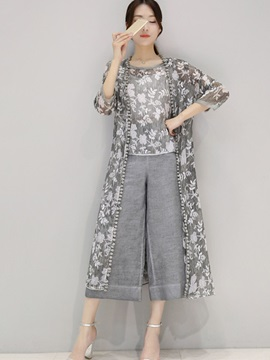 Floral Printing Trench Coat Top Pants Three-Piece Sets