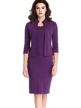 Purple Coat Dress Wear To Work 2-Piece Sets