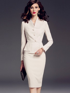 White Long Sleeve OL V-Neck Women's Skirt Suit