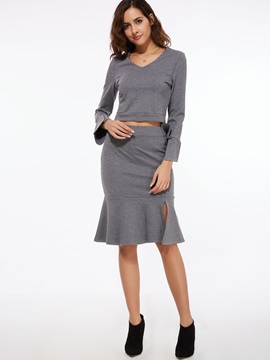 V-Neck Long Sleeve Pure Color Women's Skirt Suit
