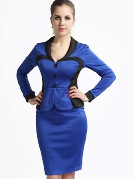Long Sleeve Elegant Package Buttocks Women's Skirt Suit