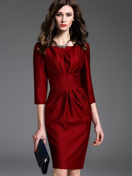 Boat Neck Long Sleeve Red Women's Skirt Suit
