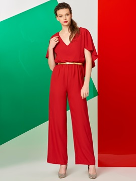Cap Type V-Neck Women Red Jumpsuit