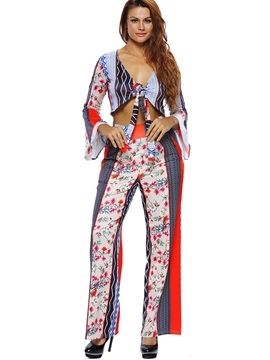 V-Neck Long Sleeve Wide Leg Flower Print Women's Jumpsuits