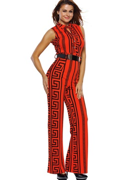 High Waisted Sleeveless Striped Belt Wide Leg Women's Jumpsuits