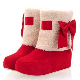 Warm Bowknot Elevator Short Booties
