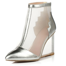 Chic Mesh & Pointed Toe Transparent Wedge Booties