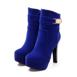 Suede Buckle Platform Women's Booties