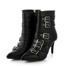 Rivets Pointed Toe Women's Motorcycle Boots