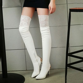 Metal Deco Lace  Thigh High Boots