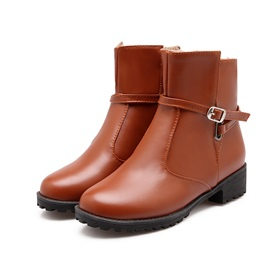 Solid Color Round Toe Chunky Heel Women's Booties