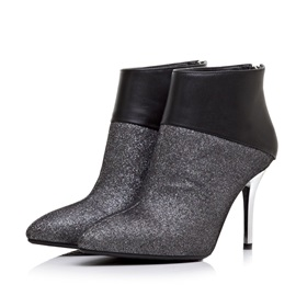 Sequin Patchwork Pointed-Toe Ankle Boots