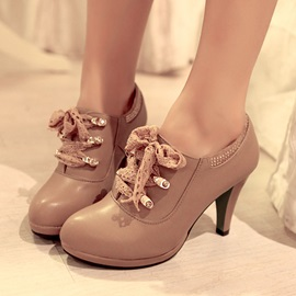 PU Lace-Up Round Toe Ankle Boots