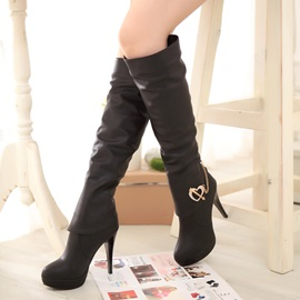 Deco Metal Chain Stiletto Heel Knee High Boots