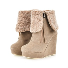 Furry Zippered Women's Wedge Boots