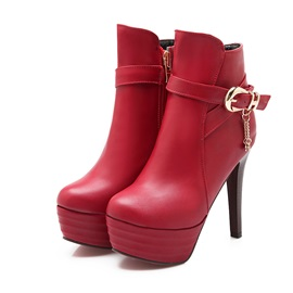 Solid Color PU Zippered Platform Booties