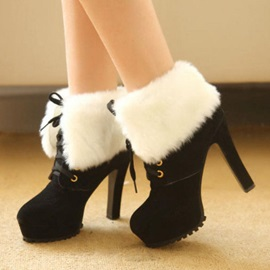 Faux Fur Platform Lace-Up Ankle Booties