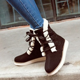 Suede Faux Fur Lace-Up Booties