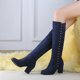 Suede Studded Chunky Heel Knee High Boots