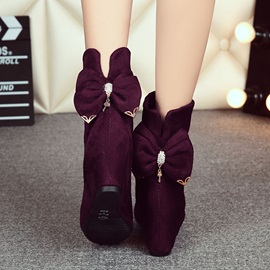 Back Bowknot Wedge Heel Booties