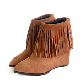 Tassels Pointed Toe Suede Wedge Boots