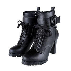 Black Chunky Heel Lace-Up Martin Boots