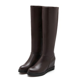 Solid Color Elevator Heel Riding Boots