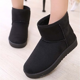 Solid Color Suede Slip-On Snow Boots