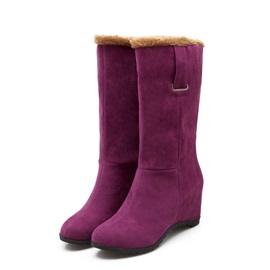 Solid Color Round Toe Suede Elevator Heel Booties