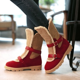 Color Block Fold Over Slip-On Snow Boots