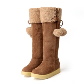 Pompom Suede Knee High Boots