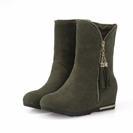 Suede Zippered Elevator Heel Booties