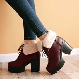 PU Wedge Sole Chunky Heel Ankle Boots