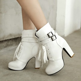 Buckles Chunky Heel Lace-Up Booties