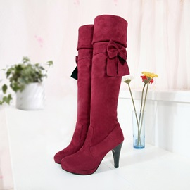 Bowknots Suede Slip-On Thigh High Boots