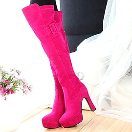 Solid Color Buckle Thigh High Boots