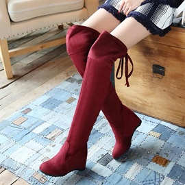 Solid Color Lace-Up Back Thigh High Boots