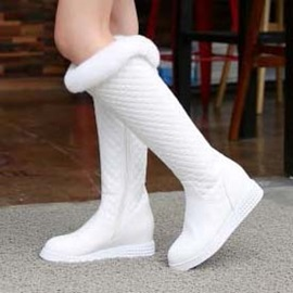 White Purfle Elevator Heel Knee High Boots