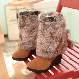 Faux Fur Fold Over Wedge Boots