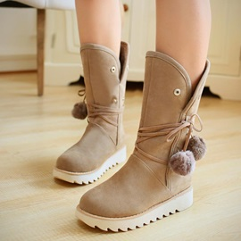 Pompom Lace-Up Suede Booties