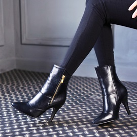 PU Pointed Toe Zippered Ankle Boots