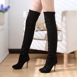 Solid Color Fold-Over Thigh High Boots