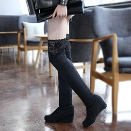 Lace Patchwork Elevator Heel Thigh High Boots