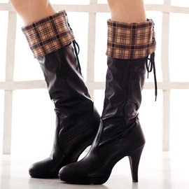 Plaid Fold Over Lace-Up Knee High Boots