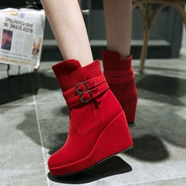 Solid Color Buckles Suede Wedge Boots