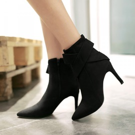 Bowknots Pointed Toe Zippered Booties