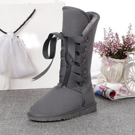 Solid Color Lace-Up Suede Snow Boots