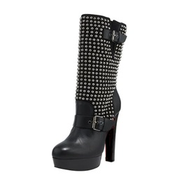 Black Studded Platform Booties