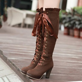 Suede Lace-Up Front Platform Thigh High Boots
