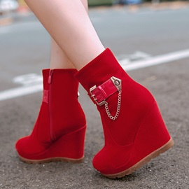 Buckles Suede Zippered Wedge Boots